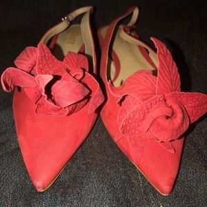 SCHUTZ red suede pointed toe flats, 9B, NWT